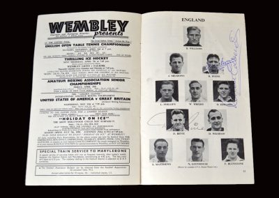 England v Scotland 02.04.1955 (Signed by Byrne Edwards and Revie)