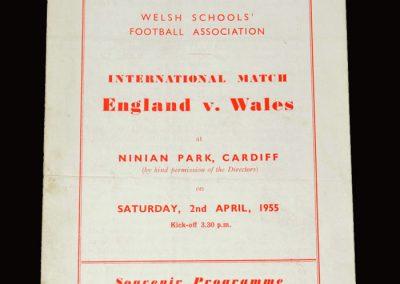England Schools v Wales Schools 02.04.1955 (Dawson, Cliss)