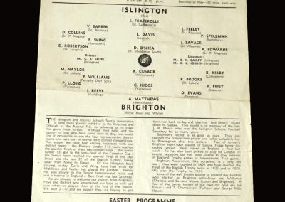 Islington Schools v Brighton Schools 02.04.1955 (Played at Highbury)