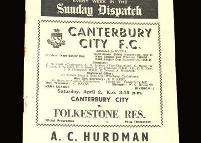 Canterbury v Folkstone Res 02.04.1955