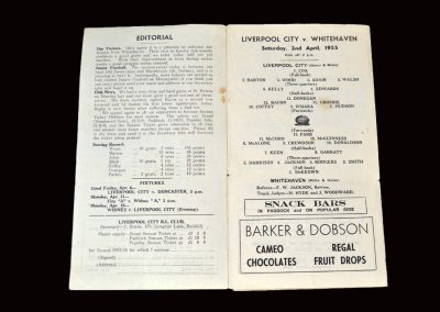 Liverpool City v Whitehaven (Rugby League) 02.04.1955