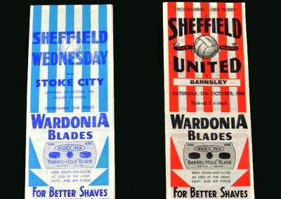 Sheff Wed v Stoke 13.10.1945 | Sheff Utd v Barnsley 27.10.1945