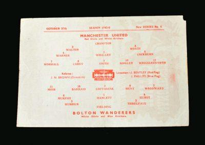 Man Utd v Bolton 27.10.1945 (Matt Busby's First Game)