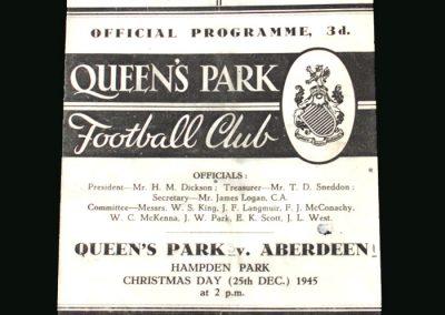 Queens Park v Aberdeen 25.12.1945 (1st ever programme)