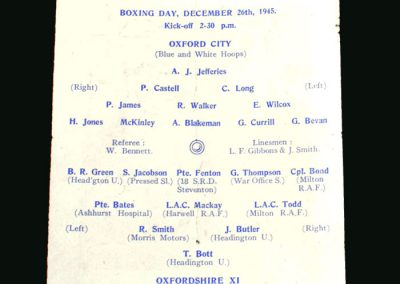 Oxford City v Oxfordshire 26.12.1945