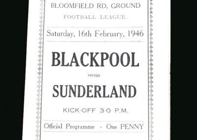Blackpool v Sunderland 16.02.1946