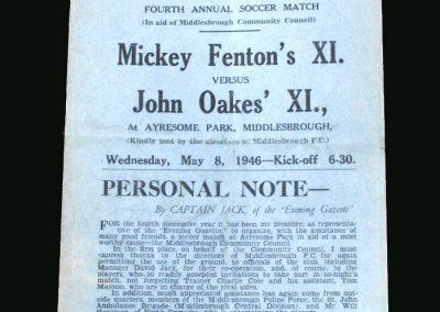 Mickey Fentons 11 v John Oakes 11 08.05.1946
