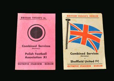 Combined Services v Polish 11 May 1946 | Combined Services v Sheff Utd May 1946 (in Berlin)