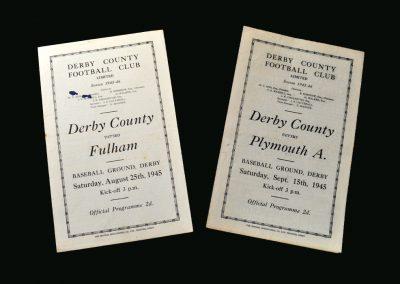 Derby v Fulham 25.08.1945 | Derby v Plymouth 15.09.1945
