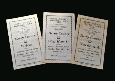 Derby v Wolves 10.11.1945 | Derby v West Ham 17.11.1945 | Derby v West Brom 08.12.1945