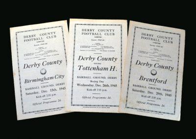 Derby v Birmingham 15.12.1945 | Derby v Spurs 26.12.1945 | Derby v Brentford 29.12.1945