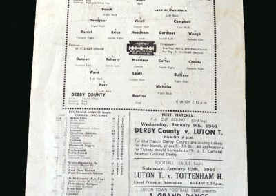 Derby v Luton 05.01.1946 (FA Cup 3rd Round 1st Leg)