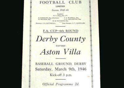 Derby v Aston Villa 09.03.1946 (FA Cup 6th Round 2nd Leg)