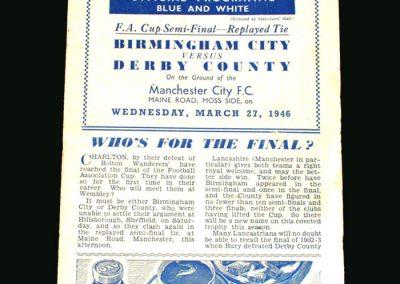 Derby v Birmingham 27.03.1946 (FA Cup Semi Final replay)