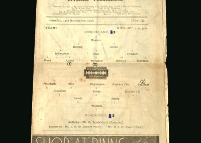 Sunderland v Blackpool 14.09.1946