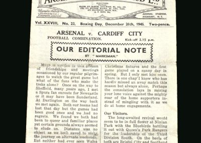 Arsenal Reserves v Cardiff Reserves 26.12.1946 (Bastins last game)