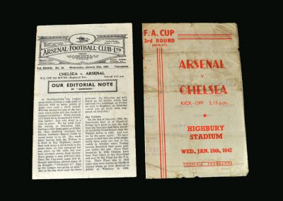Arsenal v Chelsea 15.01.1947 (replay & pirate programme)
