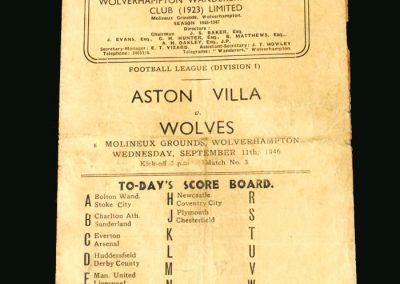 Wolves v Aston Villa 11.09.1946
