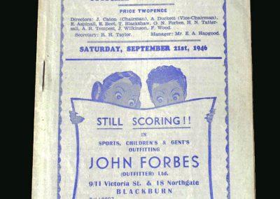 Wolves v Blackburn 21.09.1946