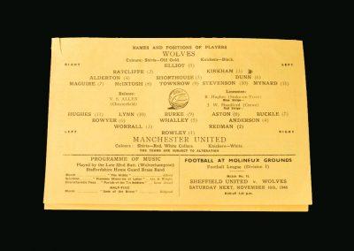 Wolves Reserves v Man Utd Reserves 09.11.1946