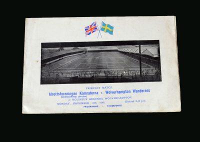Wolves v Norrkoping 11.11.1946 (Friendly)