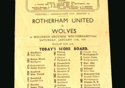 Wolves v Rotheram 11.01.1947 (FA Cup 3rd Round)