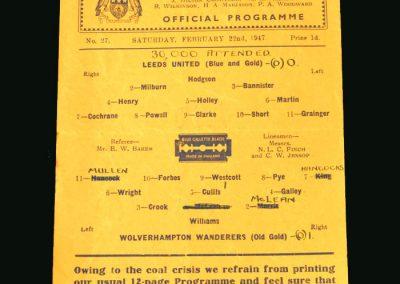 Wolves v Leeds 22.02.1947