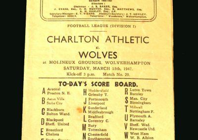 Wolves v Charlton 15.03.1947