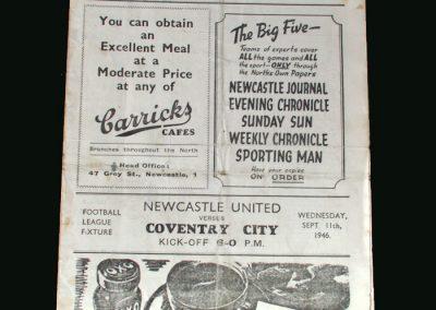 Newcastle v Coventry 11.09.1946
