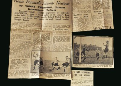 Newcastle v Newport County 05.10.1946 (Press Cuttings after 13-0 Win)