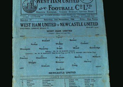 Newcastle v West Ham 02.11.1946