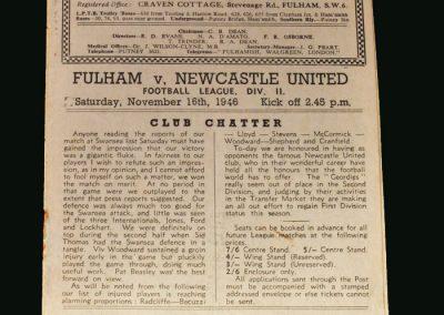 Newcastle v Fulham 16.11.1946