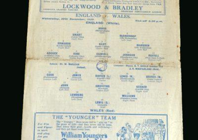 England v Wales 20.11.1929