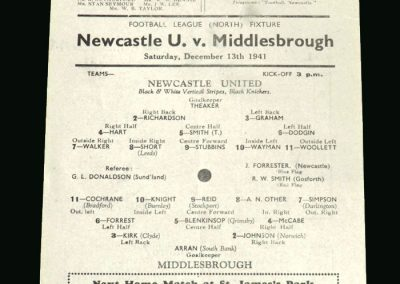 Newcastle v Middlesbrough 13.12.1941
