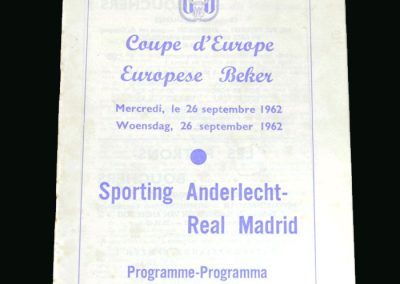 Anderlecht v Real Madrid 26.09.1962 (European Cup 1st Round)