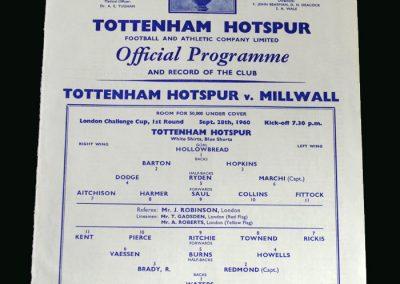 Spurs v Millwall 28.09.1960 (London Challenge)