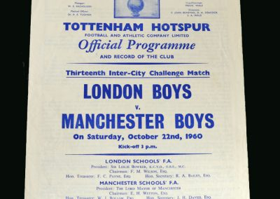 London Boys v Manchester Boys 22.10.1960 (Switched to Cheshunt)
