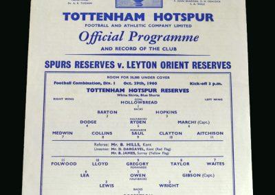 Spurs v Orient 29.10.1960