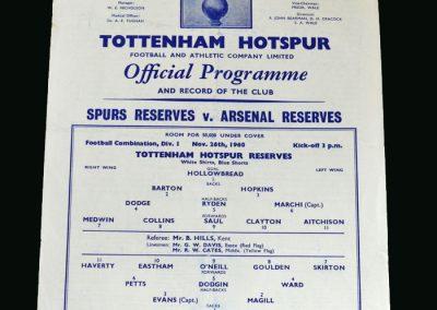 Spurs v Arsenal 26.11.1960