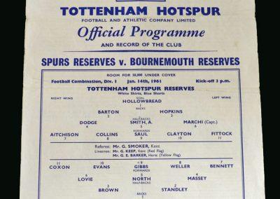 Spurs v Bournemouth 14.01.1961