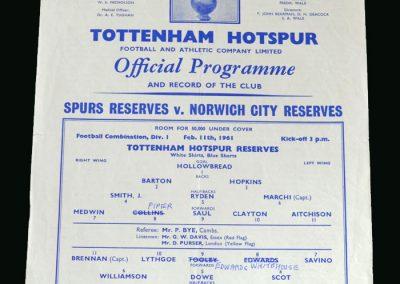 Spurs v Norwich 11.02.1961