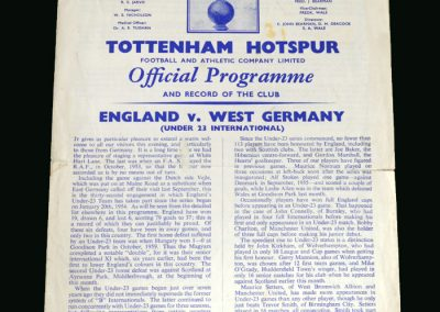 England v West Germany 15.03.1961 (Under 23)