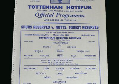 Spurs v Notts Forest 25.03.1961