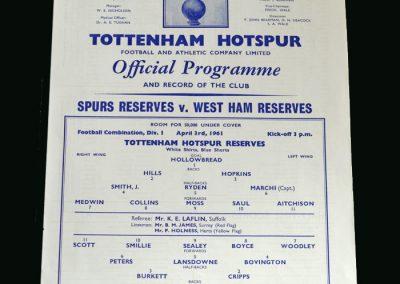 Spurs v West Ham 03.04.1961