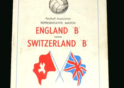 England B v Switzerland B 18.01.1950