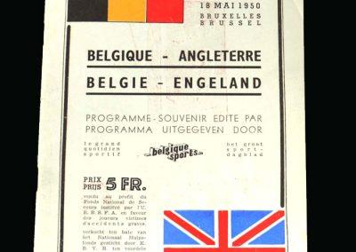 England v Belgium 18.05.1950