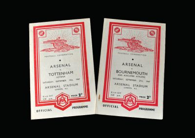 Arsenal v Spurs 13.09.1947 | Arsenal v Bournemouth 27.09.1947