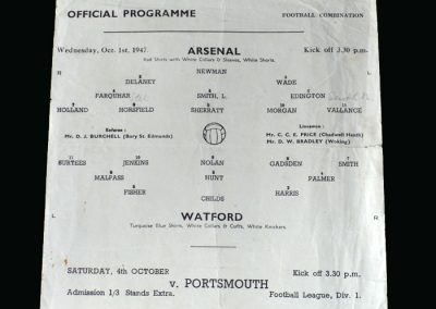Arsenal v Watford 01.10.1947