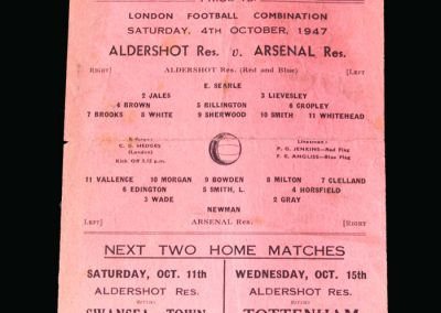 Arsenal v Aldershot 04.10.1947 (Johnny Sherwood doing remarkably well to play after his horrendous experiences as a Japanese POW)