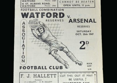 Arsenal v Watford 25.10.1947